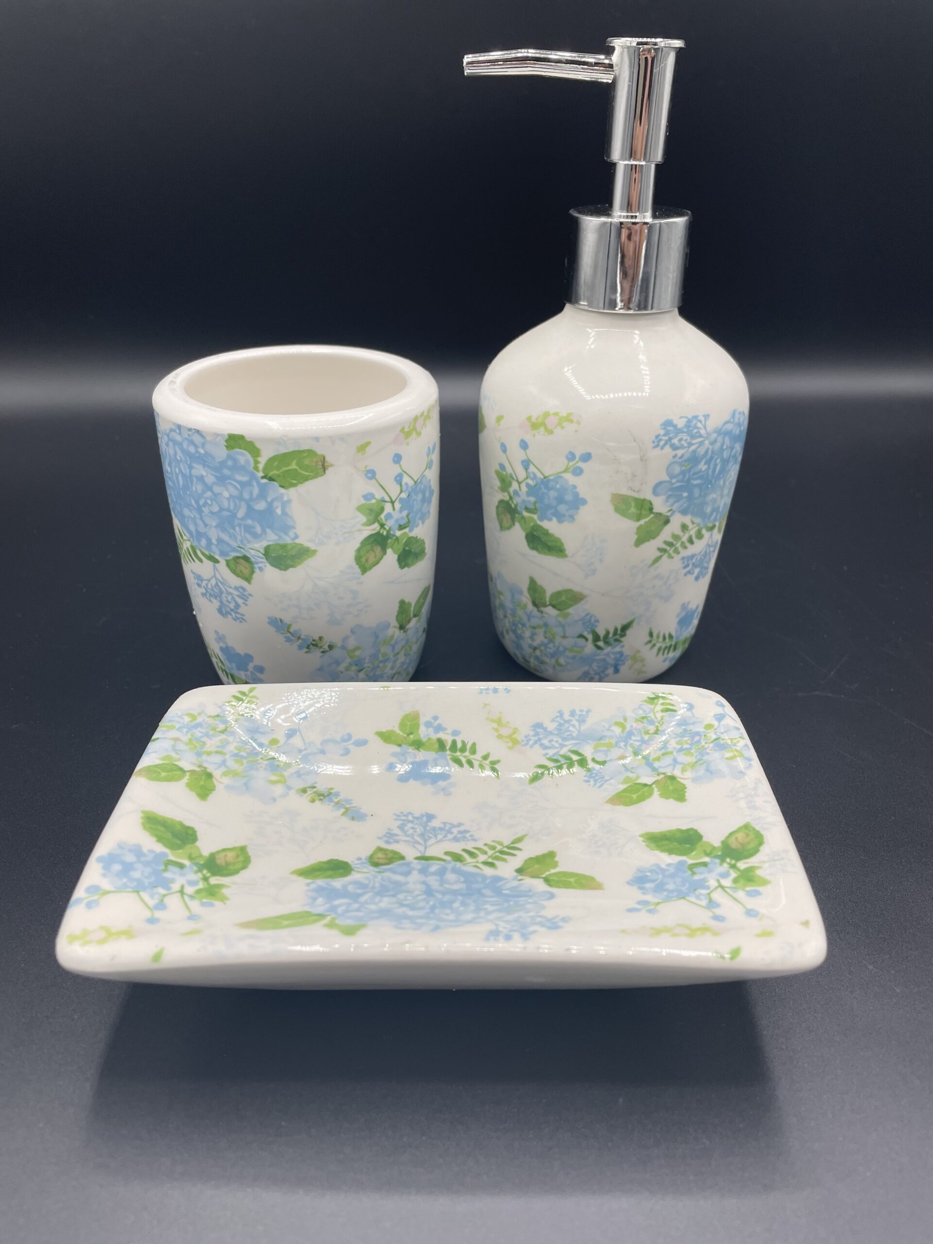 Set bagno fiori azzurri