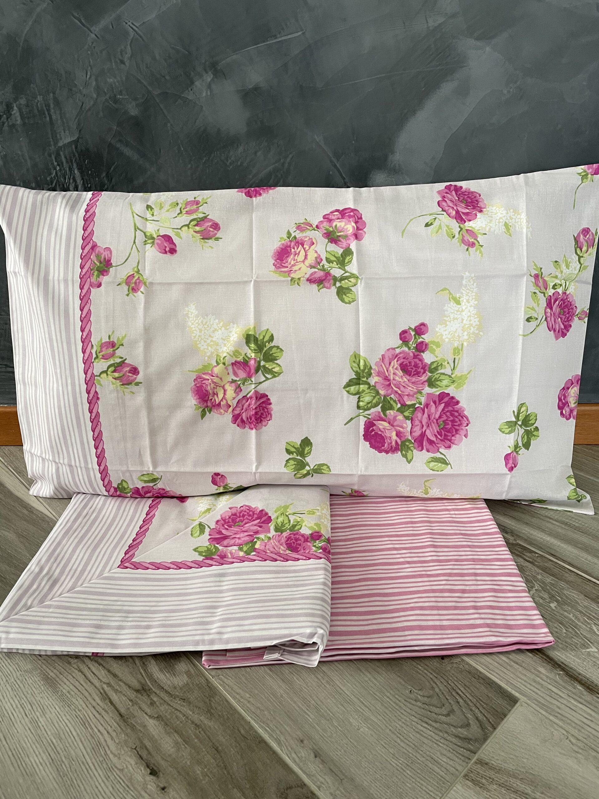 Lenzuolo letto singolo fiori lilla