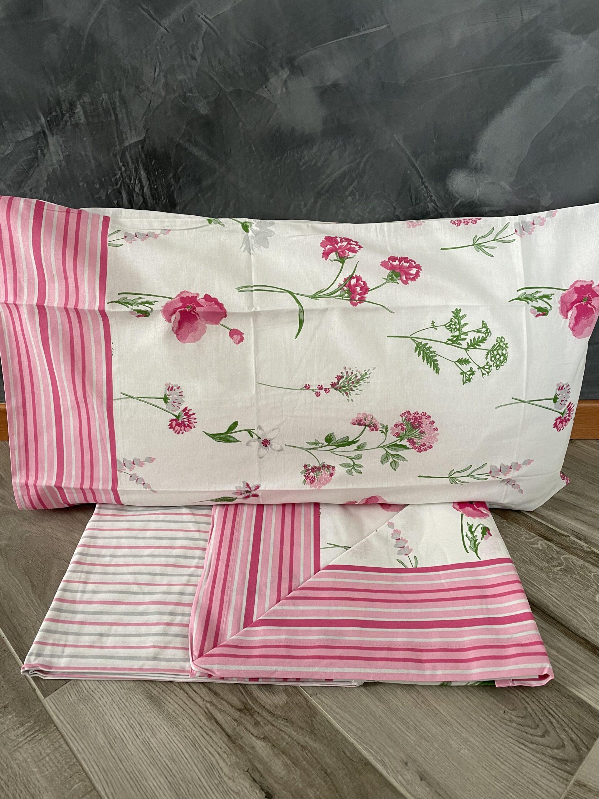Lenzuolo letto singolo fiori rosa